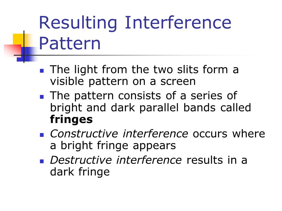 Resulting Interference Pattern The light from the two slits form a visible pattern on a screen The pattern consists of a series of bright and dark par