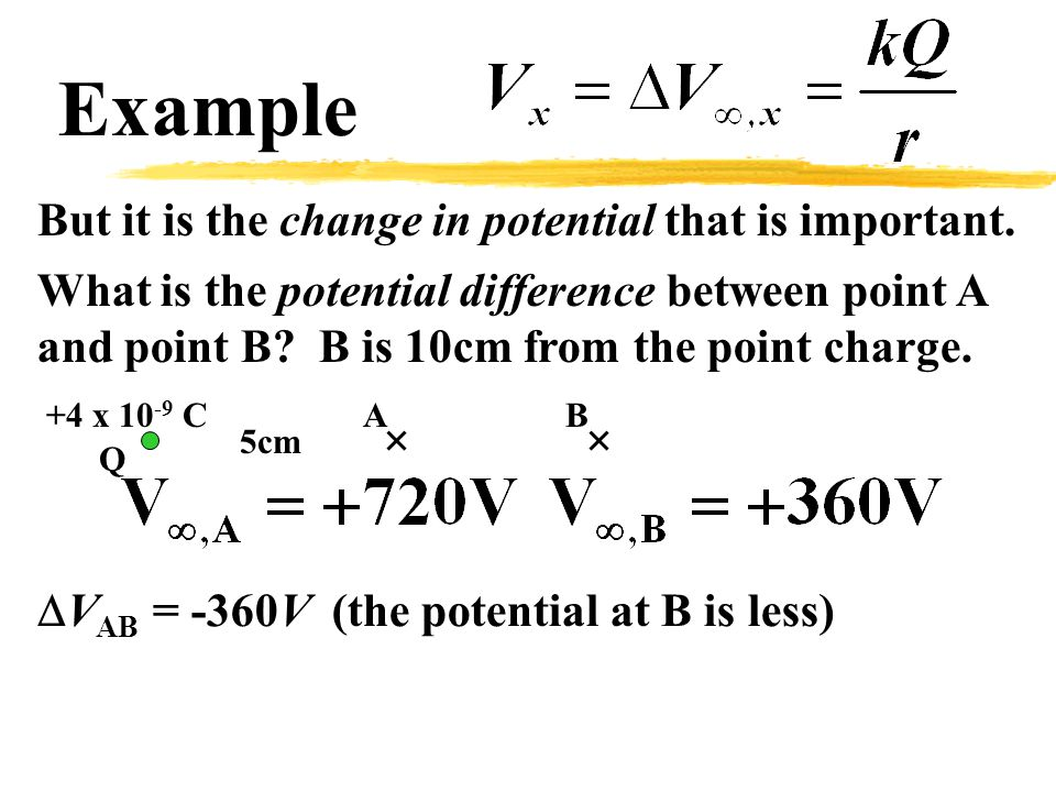 Example But it is the change in potential that is important.