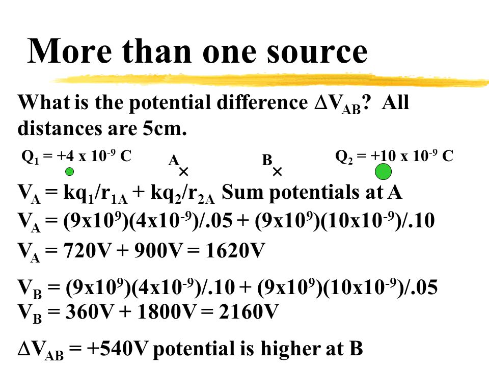 More than one source What is the potential difference  V AB .
