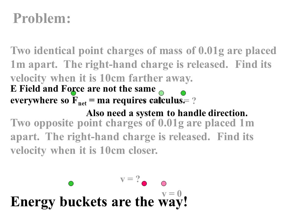 Problem: Two identical point charges of mass of 0.01g are placed 1m apart.