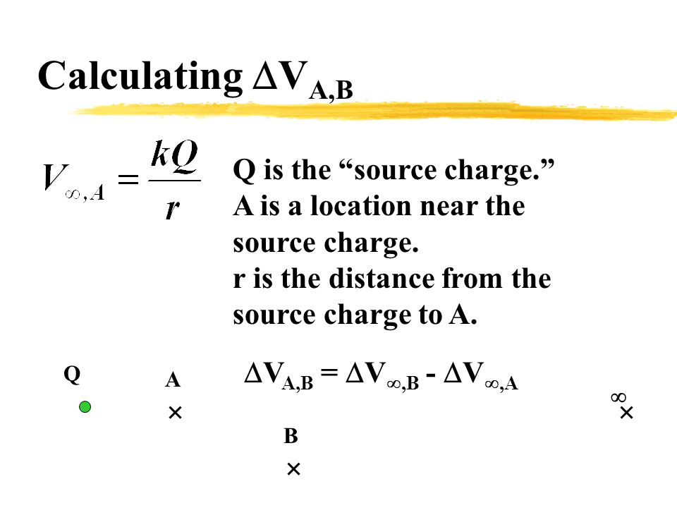 Calculating  V A,B Q is the source charge. A is a location near the source charge.