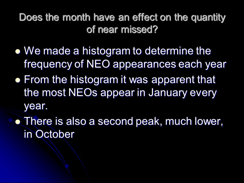 Does the month have an effect on the quantity of near missed.
