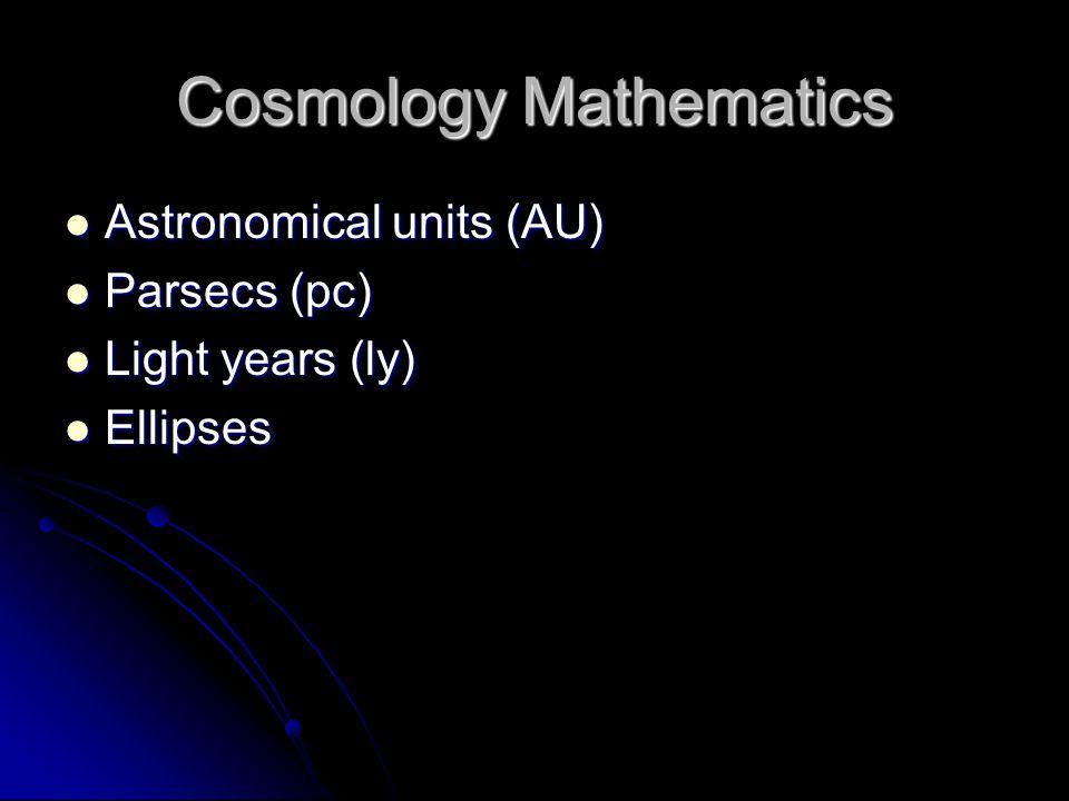 Cosmology Mathematics Astronomical units (AU) Astronomical units (AU) Parsecs (pc) Parsecs (pc) Light years (ly) Light years (ly) Ellipses Ellipses
