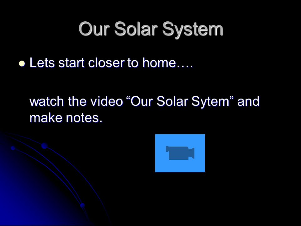 Our Solar System Lets start closer to home…. Lets start closer to home….