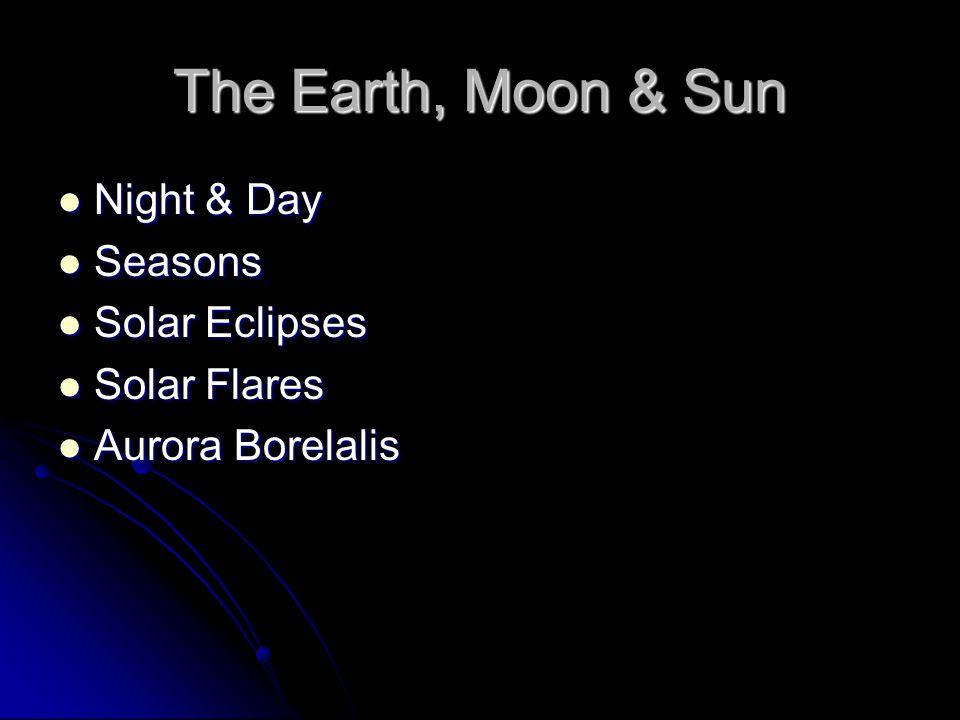 The Earth, Moon & Sun Night & Day Night & Day Seasons Seasons Solar Eclipses Solar Eclipses Solar Flares Solar Flares Aurora Borelalis Aurora Borelalis