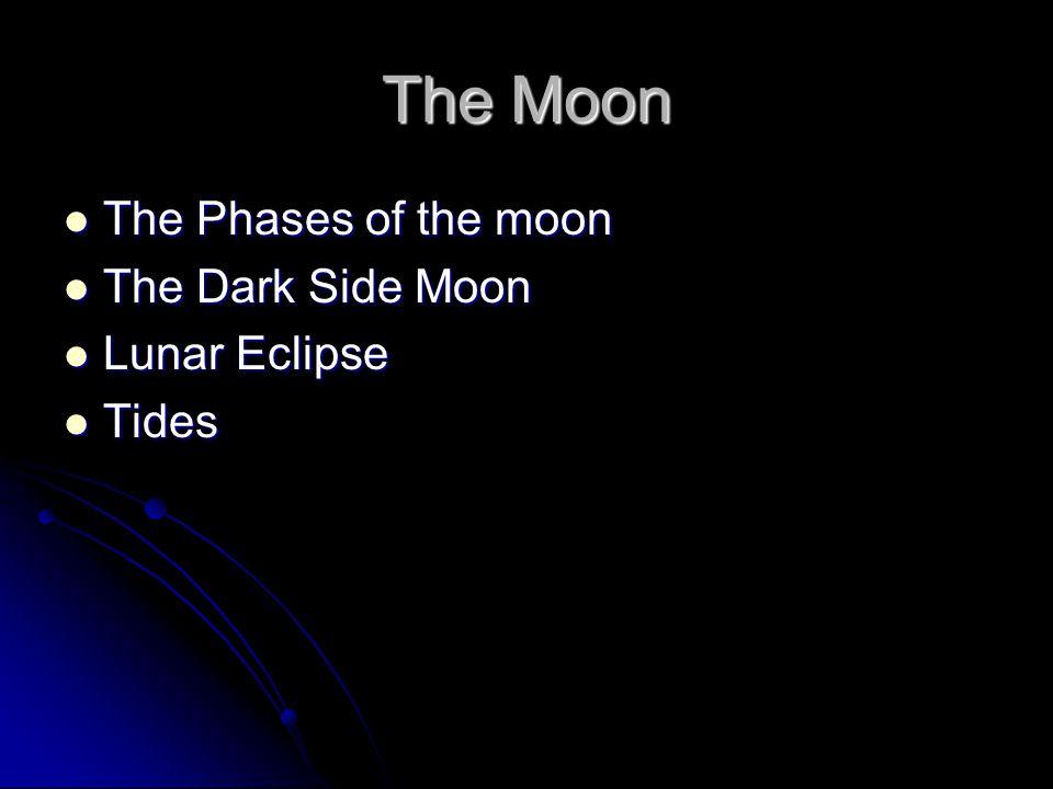 The Moon The Phases of the moon The Phases of the moon The Dark Side Moon The Dark Side Moon Lunar Eclipse Lunar Eclipse Tides Tides