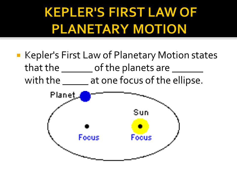  ______ Area Law - states that a line from a planet to the sun will sweep out _____ areas in equal times.