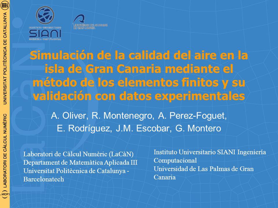 Simulación de la calidad del aire en la isla de Gran Canaria mediante el método de los elementos finitos y su validación con datos experimentales A.