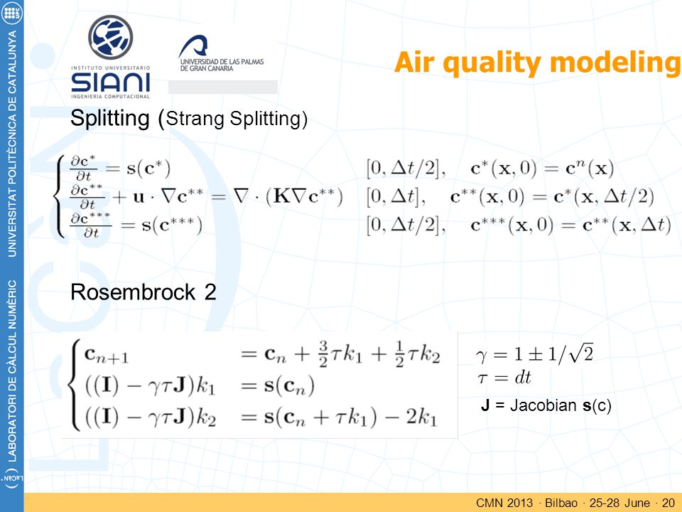 Air quality modeling CMN 2013 · Bilbao · 25-28 June · 20 Splitting ( Strang Splitting) Rosembrock 2 J = Jacobian s(c)