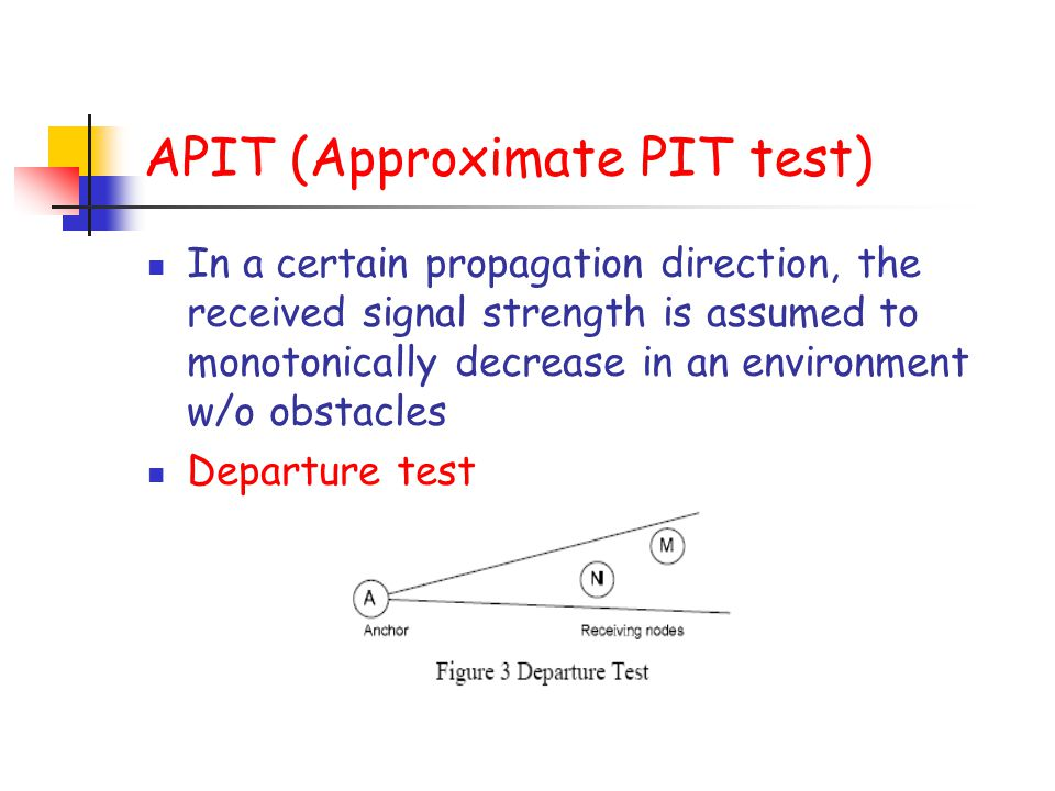 APIT (Approximate PIT test) In a certain propagation direction, the received signal strength is assumed to monotonically decrease in an environment w/