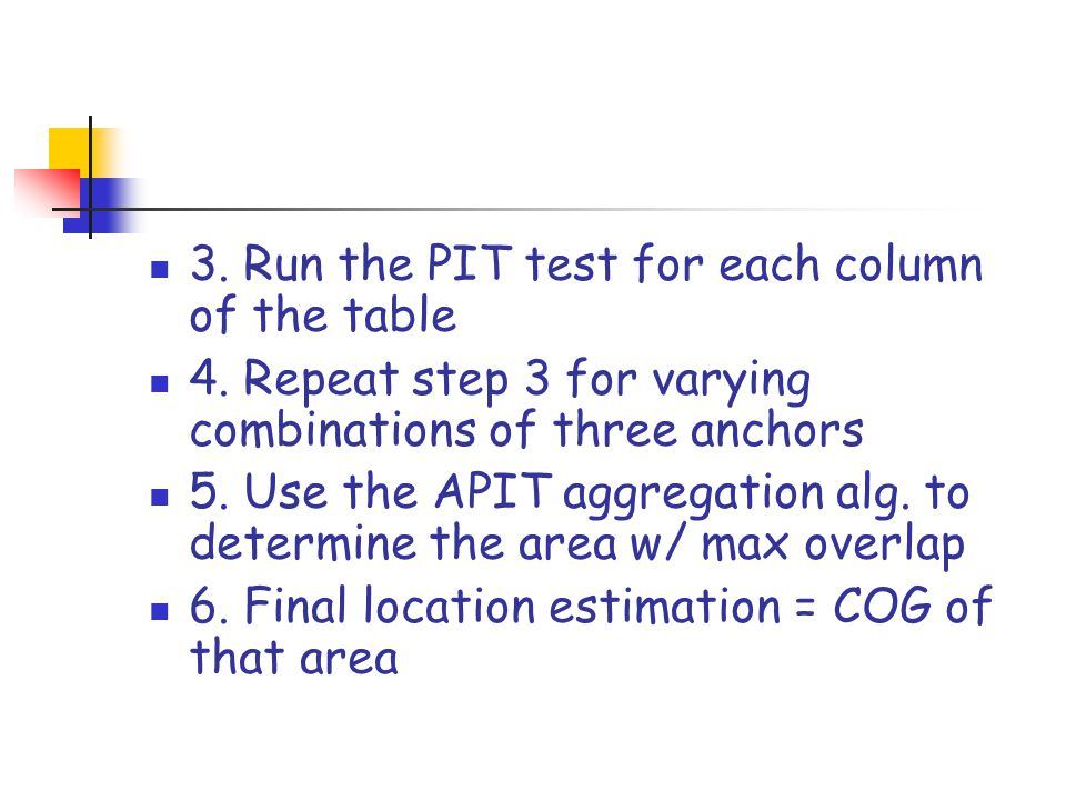 3. Run the PIT test for each column of the table 4. Repeat step 3 for varying combinations of three anchors 5. Use the APIT aggregation alg. to determ