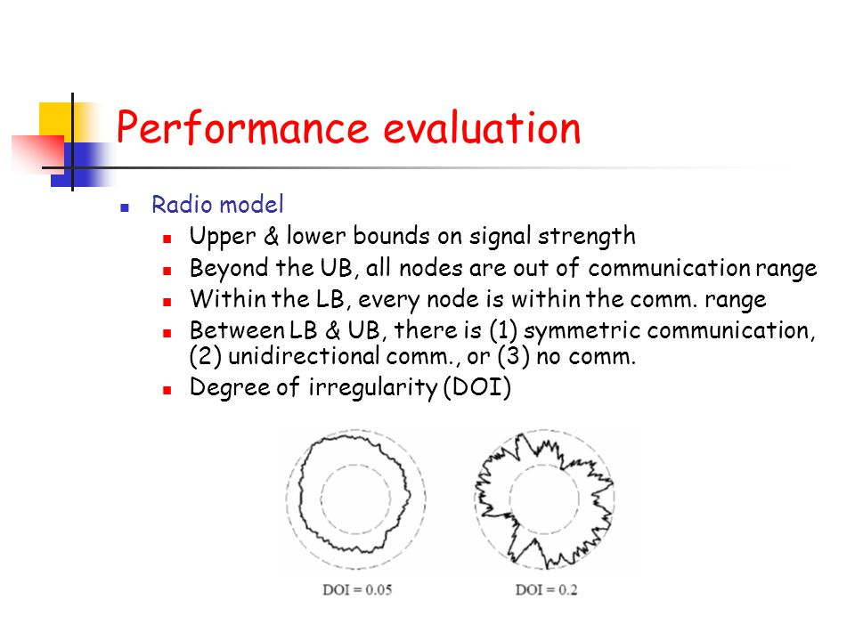 Performance evaluation Radio model Upper & lower bounds on signal strength Beyond the UB, all nodes are out of communication range Within the LB, ever