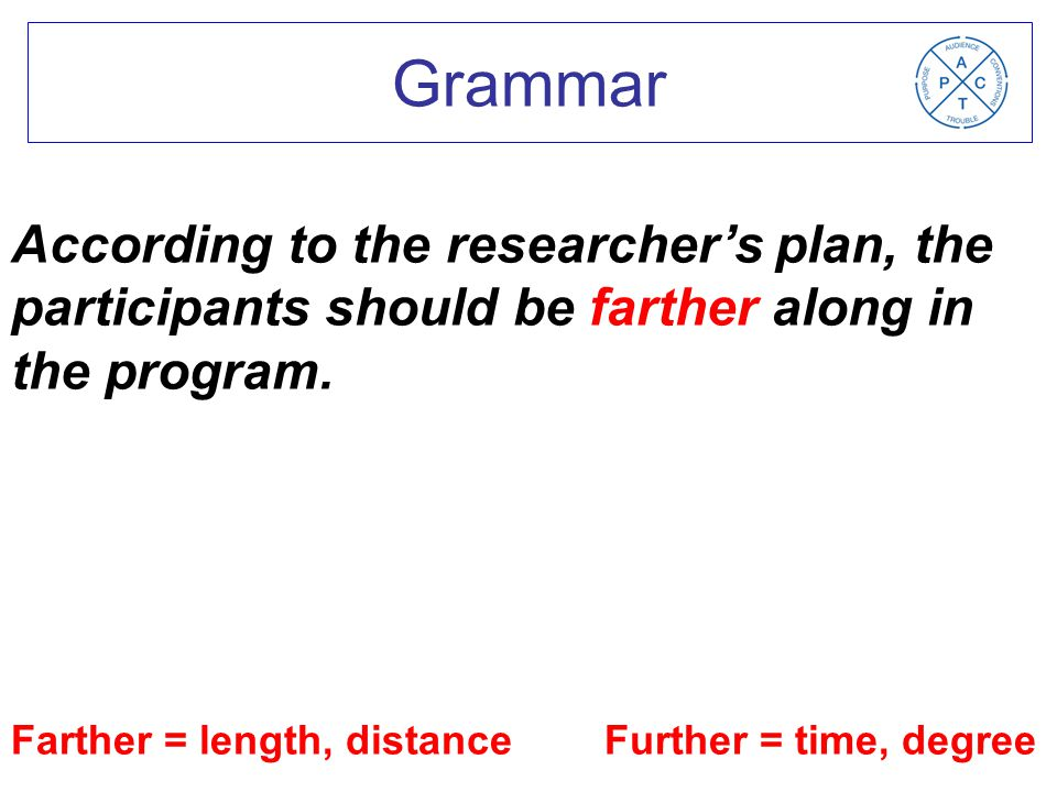 Farther = length, distance Further = time, degree According to the researcher's plan, the participants should be farther along in the program.