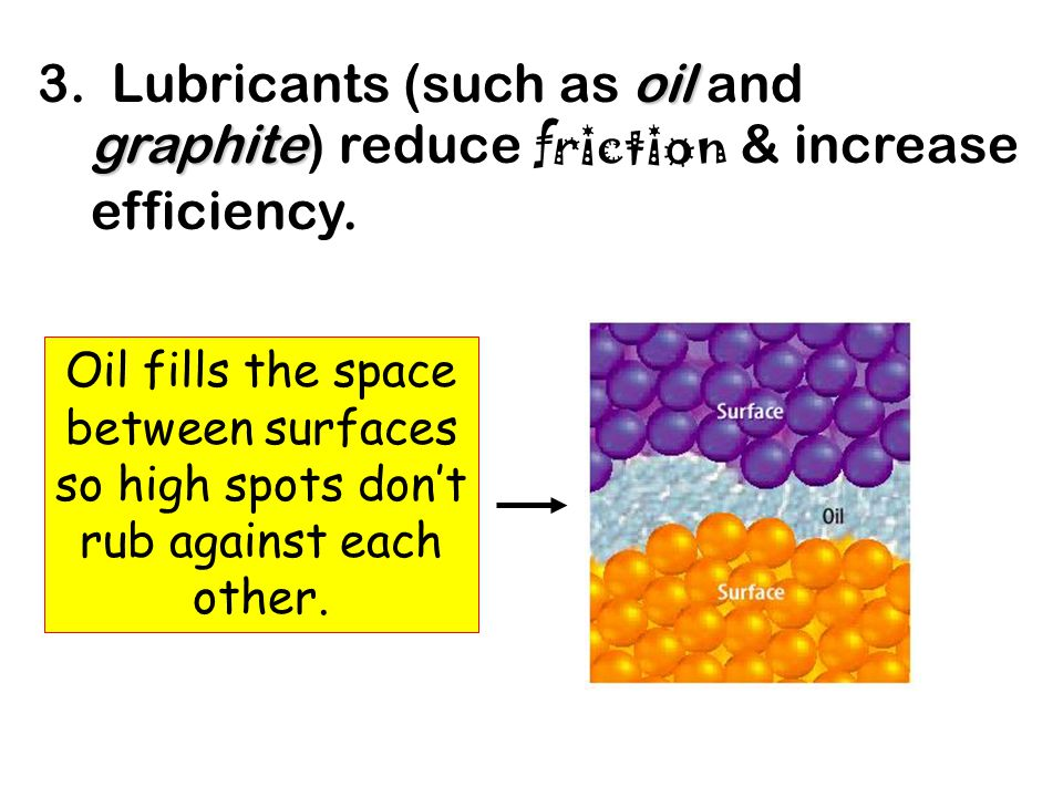 3. Lubricants (such as oil oil and graphite graphite) reduce friction & increase efficiency.