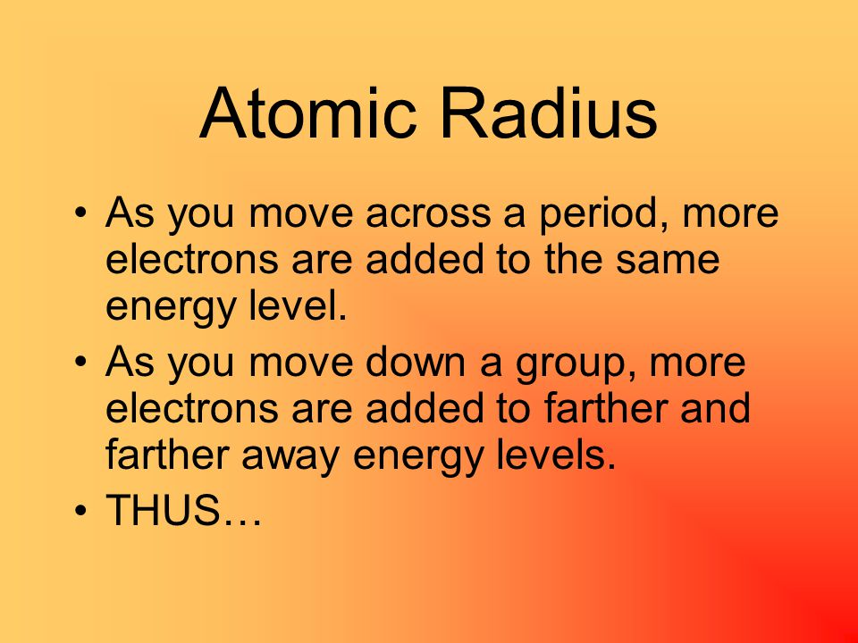 Atomic Radius Shielding Effect—the reduction of the attractive force between a nucleus and its outer electrons due to the blocking effect of inner electrons