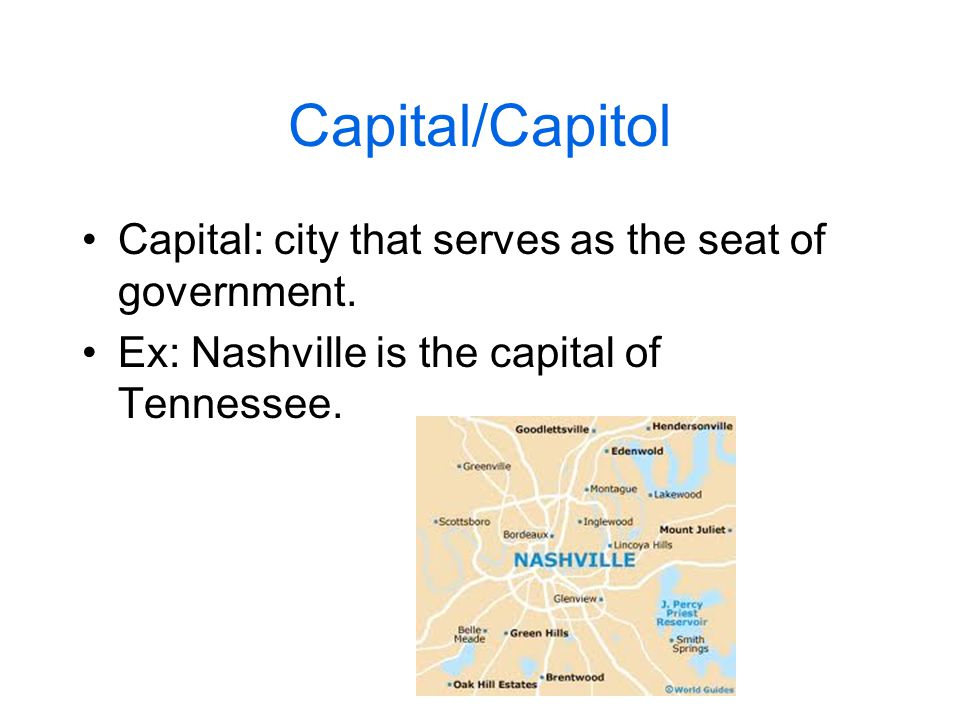 Capital/Capitol Capital: city that serves as the seat of government.