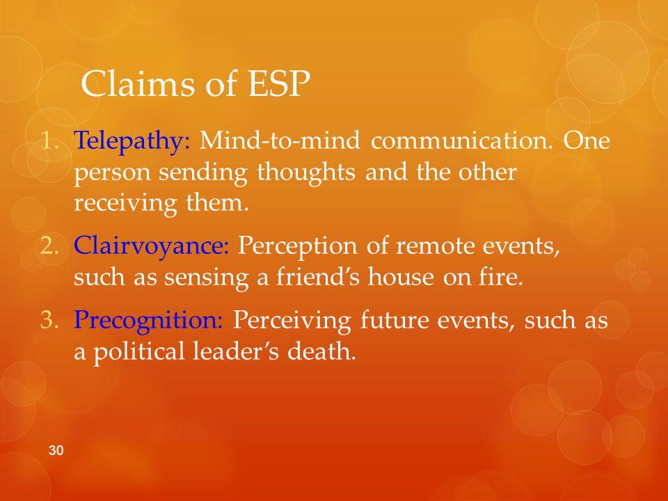Claims of ESP 1.Telepathy: Mind-to-mind communication.