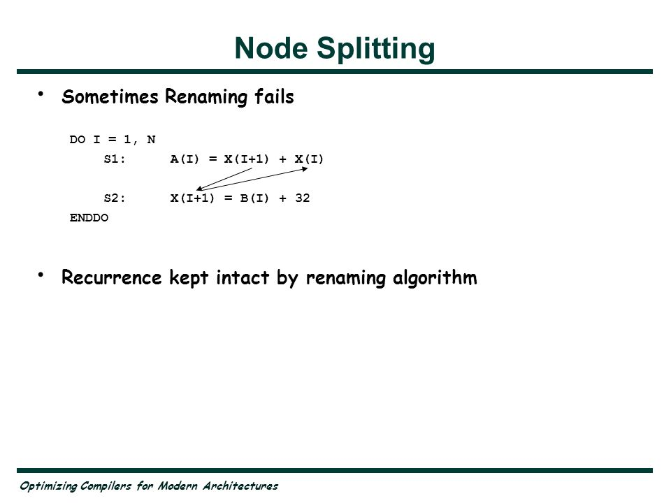 Optimizing Compilers for Modern Architectures Node Splitting Sometimes Renaming fails DO I = 1, N S1:A(I) = X(I+1) + X(I) S2:X(I+1) = B(I) + 32 ENDDO Recurrence kept intact by renaming algorithm