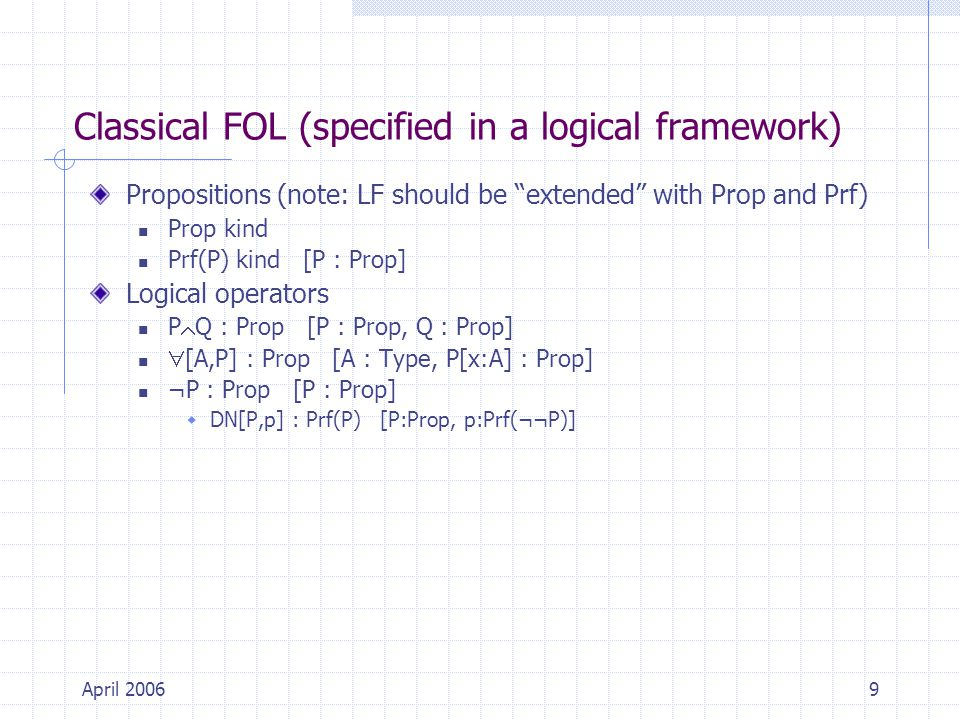 April 20069 Classical FOL (specified in a logical framework) Propositions (note: LF should be extended with Prop and Prf) Prop kind Prf(P) kind [P : Prop] Logical operators P  Q : Prop [P : Prop, Q : Prop]  [A,P] : Prop [A : Type, P[x:A] : Prop] ¬P : Prop [P : Prop]  DN[P,p] : Prf(P) [P:Prop, p:Prf(¬¬P)]
