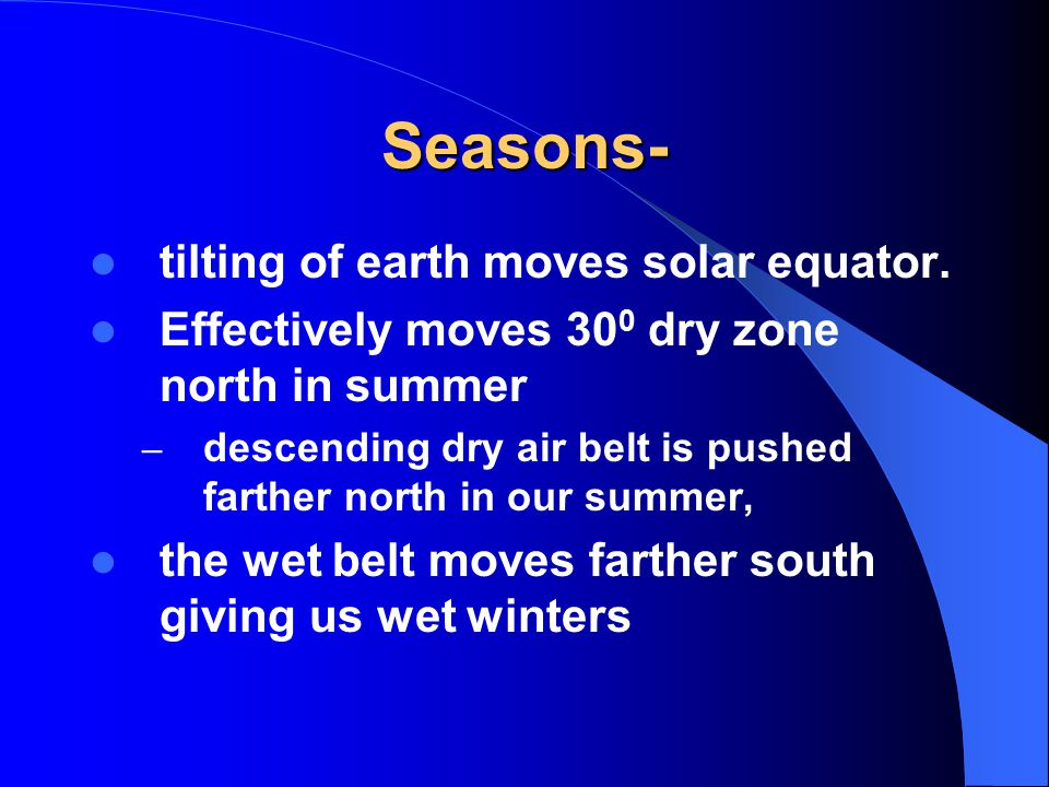 Seasons- tilting of earth moves solar equator.