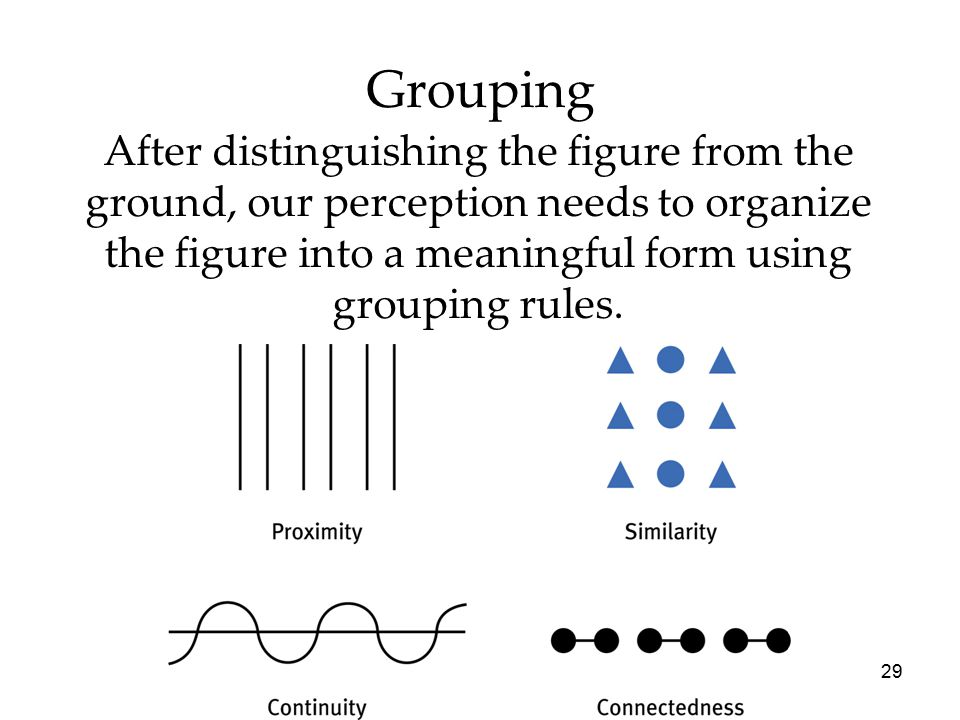 29 Grouping After distinguishing the figure from the ground, our perception needs to organize the figure into a meaningful form using grouping rules.