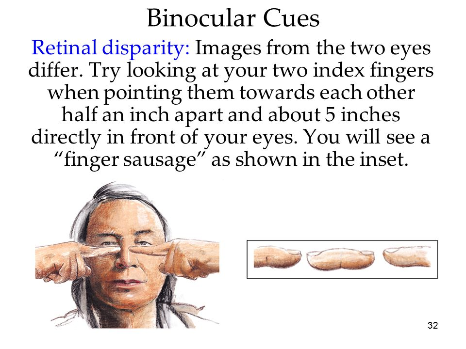 32 Binocular Cues Retinal disparity: Images from the two eyes differ. Try looking at your two index fingers when pointing them towards each other half