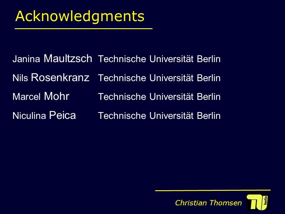 Christian Thomsen Acknowledgments Janina Maultzsch Technische Universität Berlin Nils Rosenkranz Technische Universität Berlin Marcel Mohr Technische Universität Berlin Niculina Peica Technische Universität Berlin