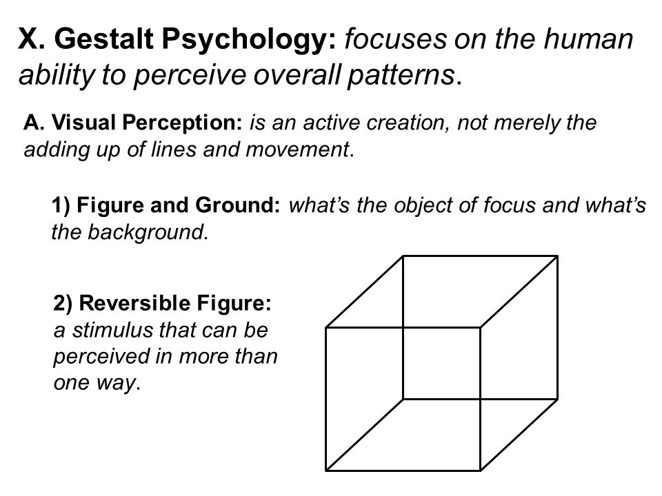 X. Gestalt Psychology: focuses on the human ability to perceive overall patterns. A. Visual Perception: is an active creation, not merely the adding u
