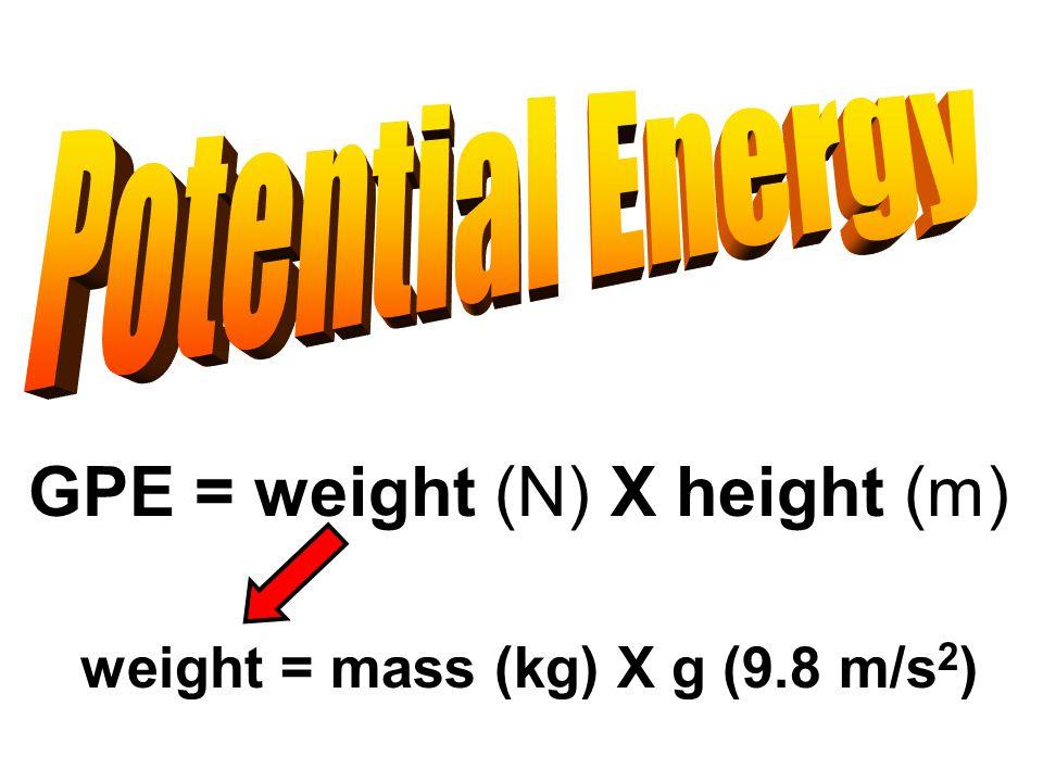 GPE = weight (N) X height (m) weight = mass (kg) X g (9.8 m/s 2 )