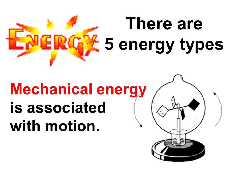There are 5 energy types Mechanical energy is associated with motion.