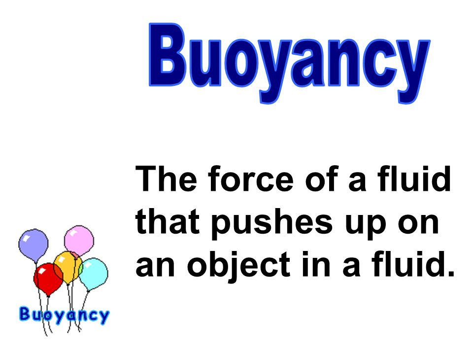 The force of a fluid that pushes up on an object in a fluid.