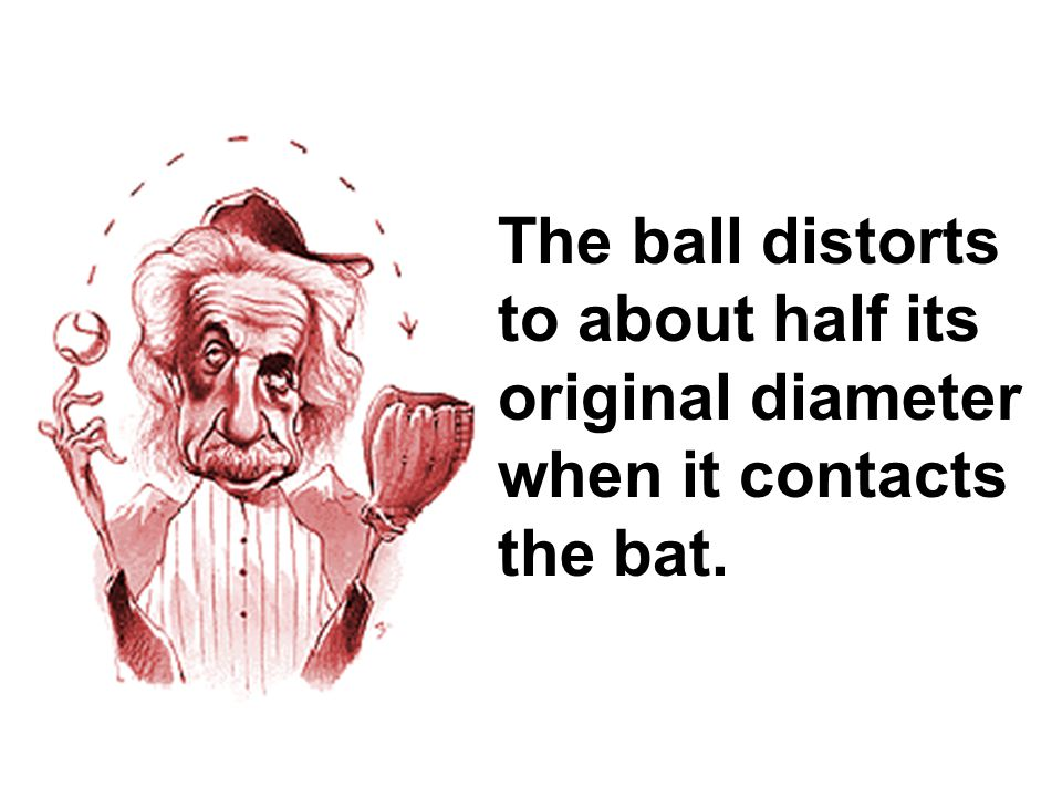 The ball distorts to about half its original diameter when it contacts the bat.