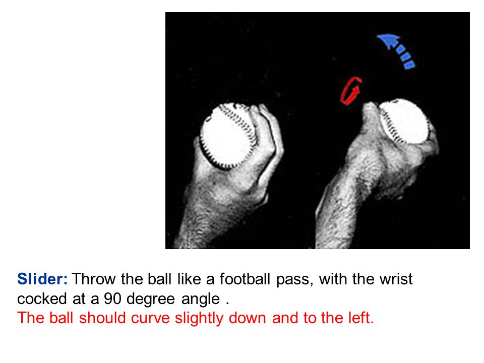 Slider: Throw the ball like a football pass, with the wrist cocked at a 90 degree angle.