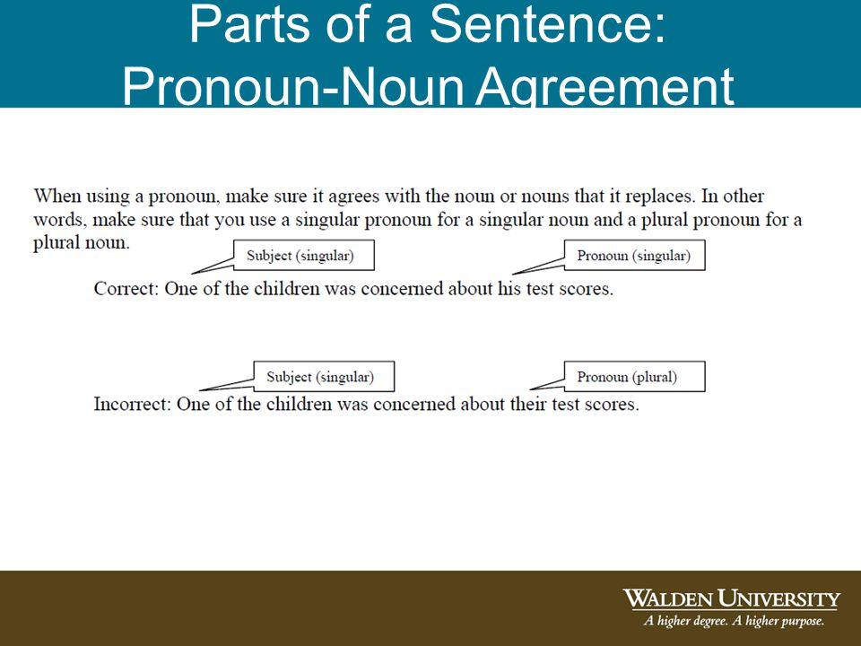 Parts of a Sentence: Tense Consistency