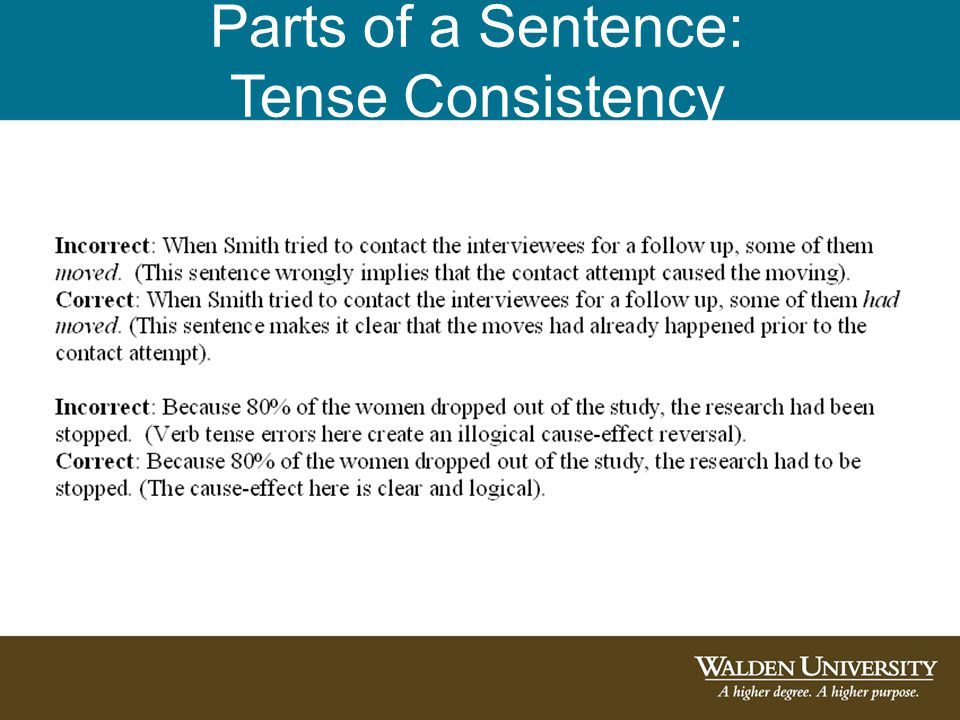 Parts of a Sentence: Tense Consistency
