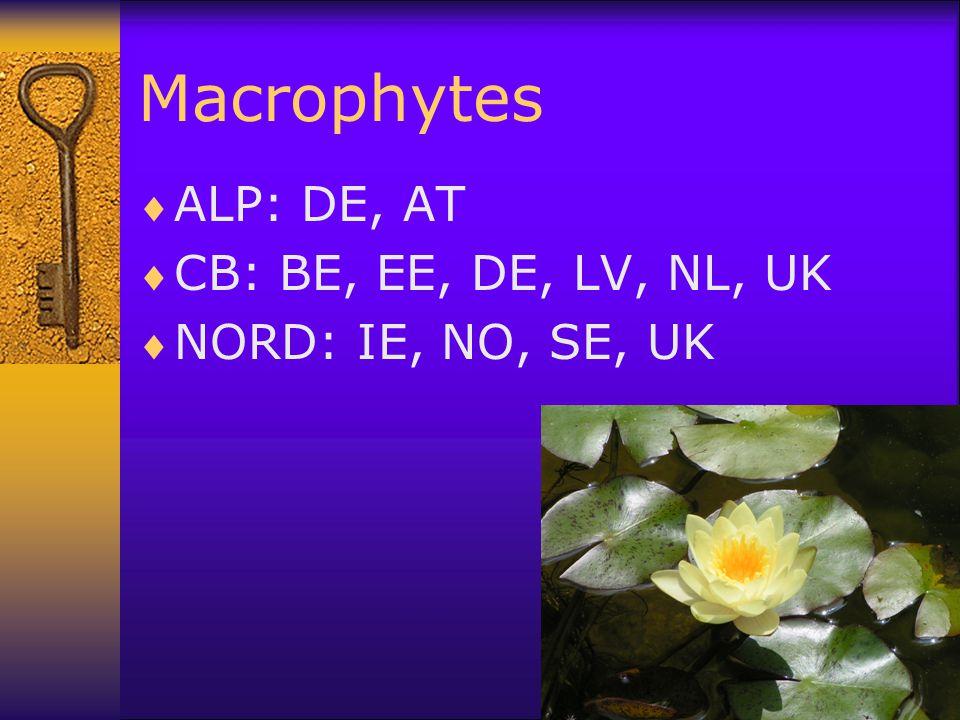 Macrophytes  ALP: DE, AT  CB: BE, EE, DE, LV, NL, UK  NORD: IE, NO, SE, UK