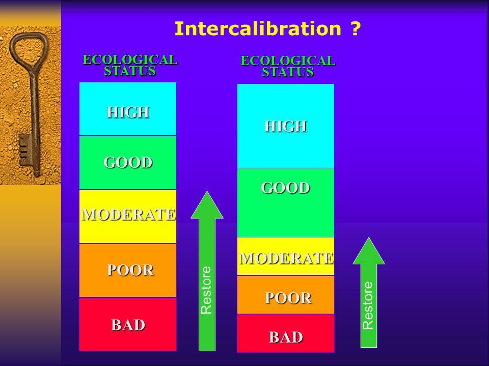 HIGH GOOD MODERATE POOR BADECOLOGICALSTATUSGOOD HIGH MODERATE POOR BAD ECOLOGICALSTATUS HIGH HIGH GOOD MODERATE POOR BADECOLOGICALSTATUS Intercalibrat