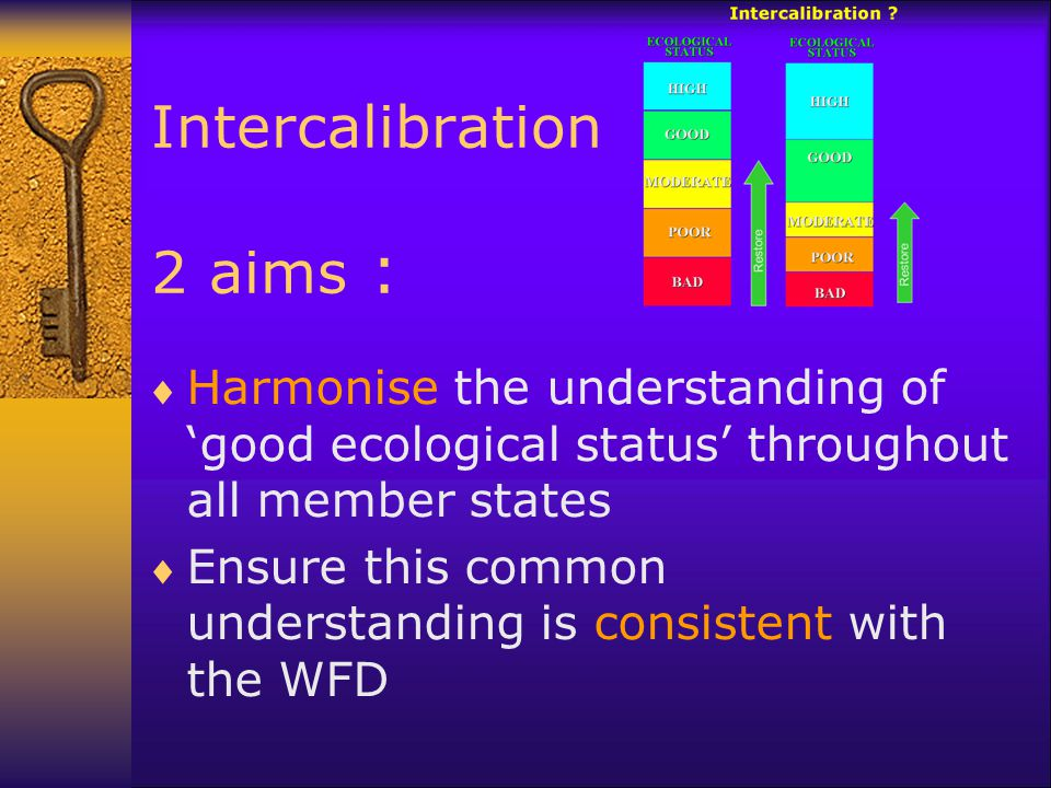 Intercalibration 2 aims :  Harmonise the understanding of 'good ecological status' throughout all member states  Ensure this common understanding is