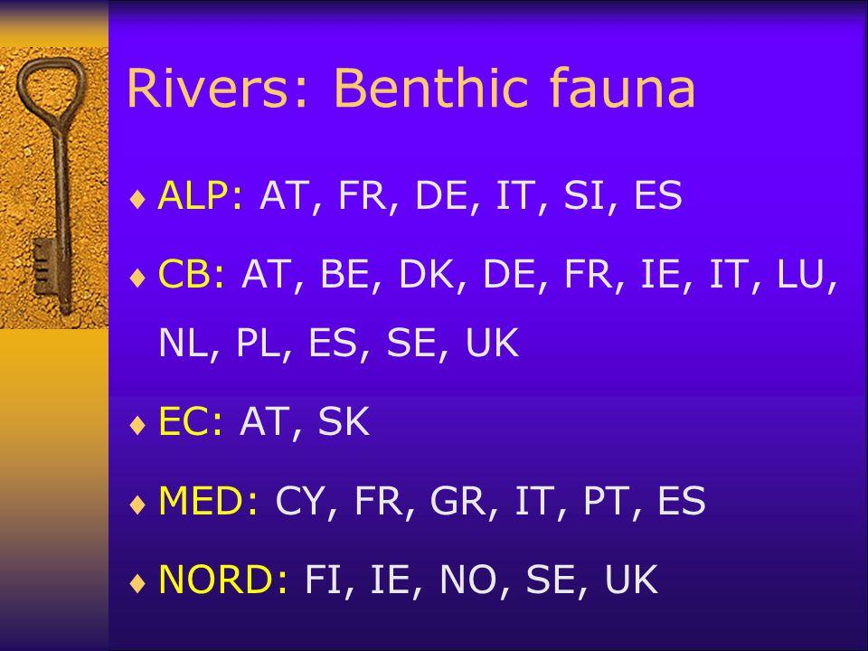 Rivers: Benthic fauna  ALP: AT, FR, DE, IT, SI, ES  CB: AT, BE, DK, DE, FR, IE, IT, LU, NL, PL, ES, SE, UK  EC: AT, SK  MED: CY, FR, GR, IT, PT, E