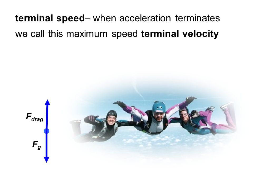terminal speed– when acceleration terminates we call this maximum speed terminal velocity FgFg F drag