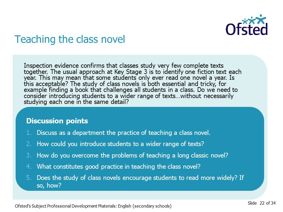 Slide 22 of 34 Teaching the class novel Inspection evidence confirms that classes study very few complete texts together.