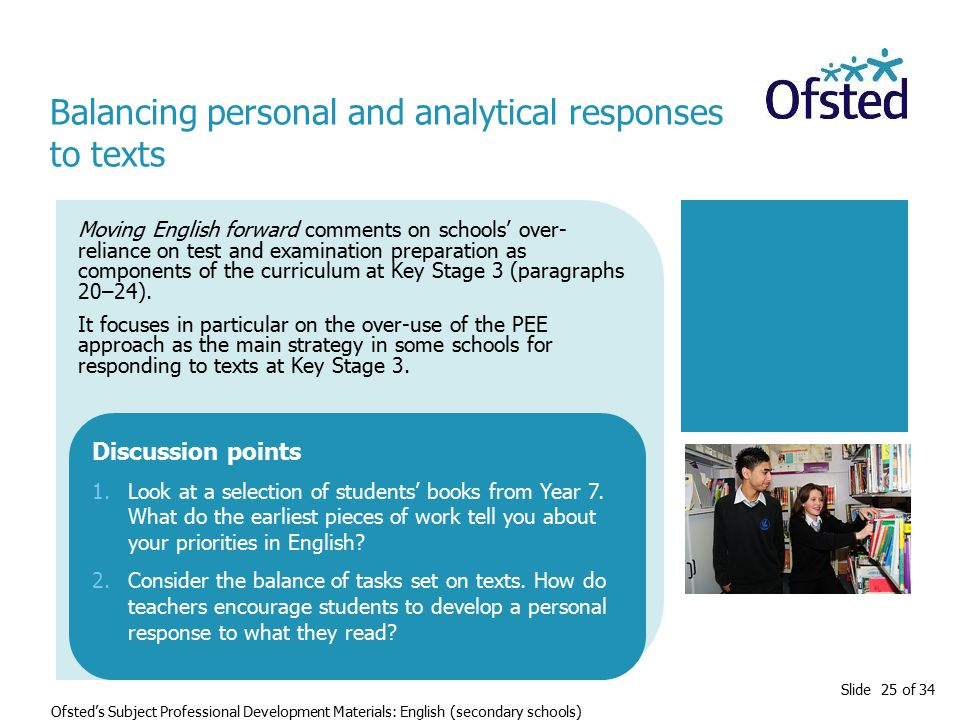 Slide 25 of 34 Ofsted's Subject Professional Development Materials: English (secondary schools) Moving English forward comments on schools' over- reliance on test and examination preparation as components of the curriculum at Key Stage 3 (paragraphs 20–24).