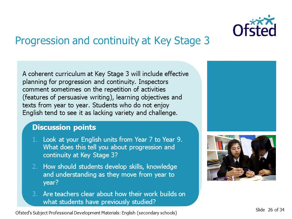 Slide 26 of 34 Ofsted's Subject Professional Development Materials: English (secondary schools) A coherent curriculum at Key Stage 3 will include effective planning for progression and continuity.