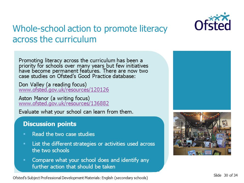 Slide 30 of 34 Ofsted's Subject Professional Development Materials: English (secondary schools) Promoting literacy across the curriculum has been a priority for schools over many years but few initiatives have become permanent features.