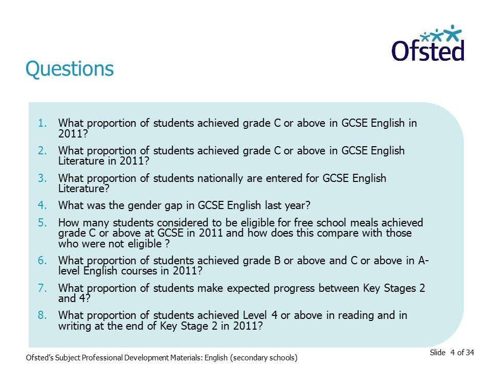 Slide 4 of 34 1.What proportion of students achieved grade C or above in GCSE English in 2011? 2.What proportion of students achieved grade C or above