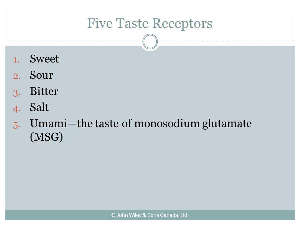 Five Taste Receptors 1. Sweet 2. Sour 3. Bitter 4.