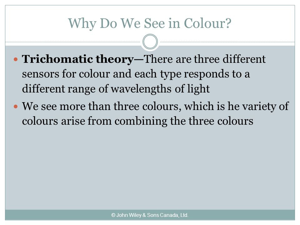 Why Do We See in Colour.