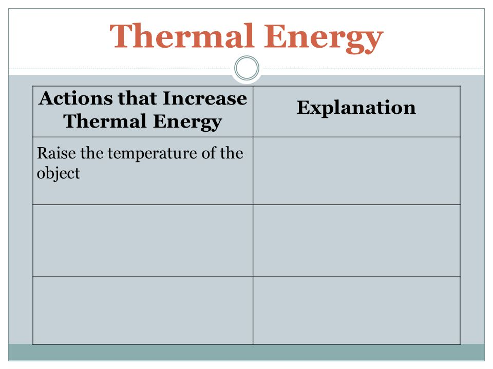 Thermal Energy Actions that Increase Thermal Energy Explanation Raise the temperature of the object