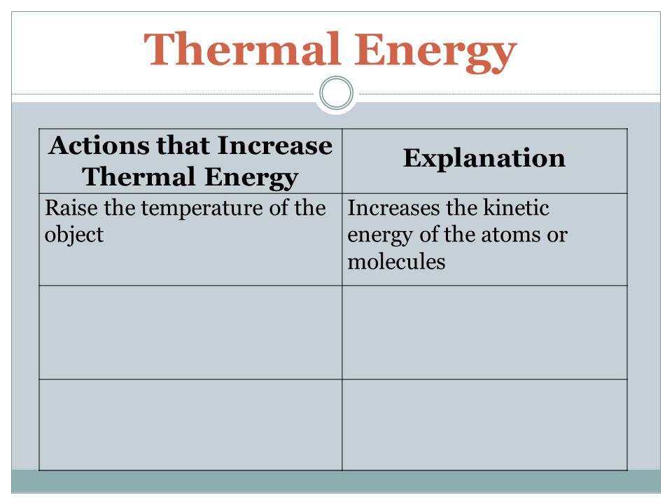 Thermal Energy Actions that Increase Thermal Energy Explanation Raise the temperature of the object Increases the kinetic energy of the atoms or molec