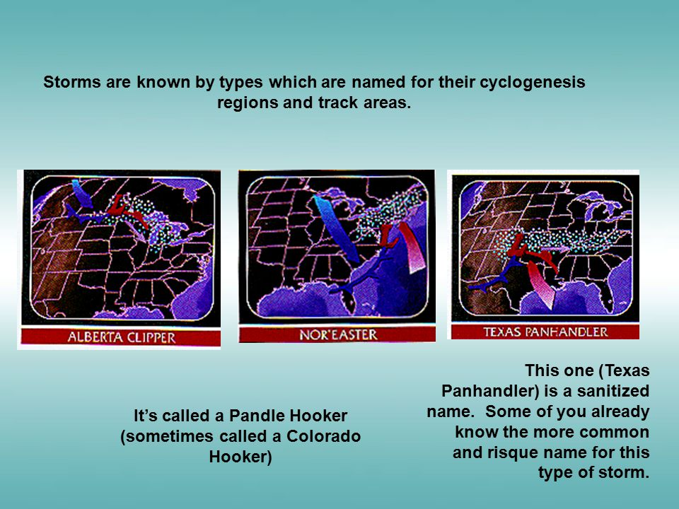 Storms are known by types which are named for their cyclogenesis regions and track areas. This one (Texas Panhandler) is a sanitized name. Some of you